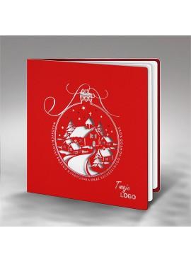 Kartka Świąteczna Bombka z Zimowym Pejzażem FS727cg