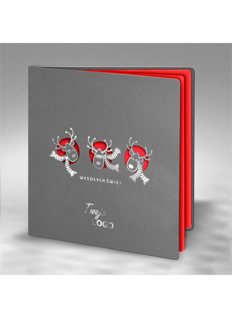Kartka Świąteczna z Trzema Reniferami FS693s