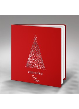 Kartka Świąteczna z Geometryczną Srebrną Choinką FS644cg