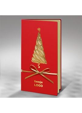 Kartka Świąteczna Wycięta Laserowo Złota Choinka FS683cg