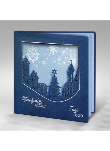 Kartka Świąteczna z Miasteczkiem w Zimowej Scenerii FS706i-n