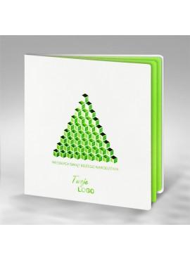 Kartka Świąteczna z Geometryczną Zieloną Choinką FS645