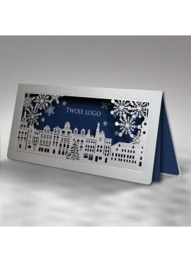 Kartka Świąteczna Miasteczko z Płatkami Śniegu FS732s