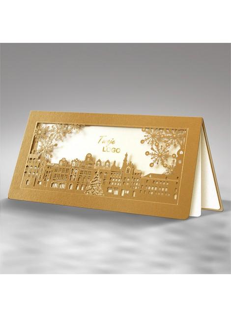Kartka Świąteczna Złote Miasteczko ze Śnieżynkami FS732az