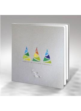 Kartka Świąteczna z Trzema Kolorowymi Choinkami FS638s