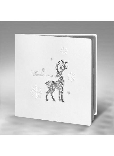Kartka Świąteczna Renifer z Płatkami Śniegu FS595tb-n
