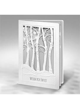 Kartka Świąteczna z Drzewami w Zimowej Scenerii FS598bp