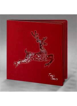 Kartka Świąteczna z Wyciętą Sylwetką Renifera FS620bg