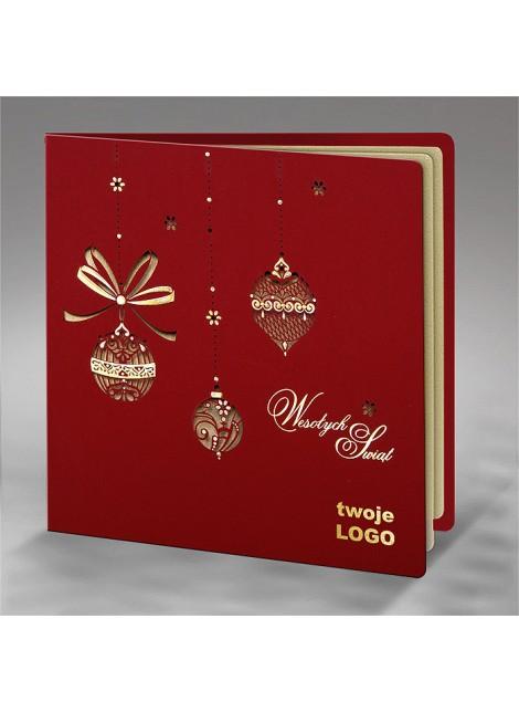 Kartka Świąteczna z Misternym Wzorem Bombek FS601bg