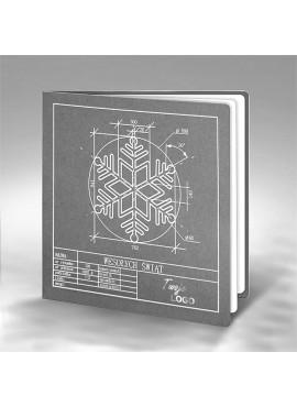 Kartka Świąteczna z Technicznym Rysunkiem Śnieżynki FS647sp