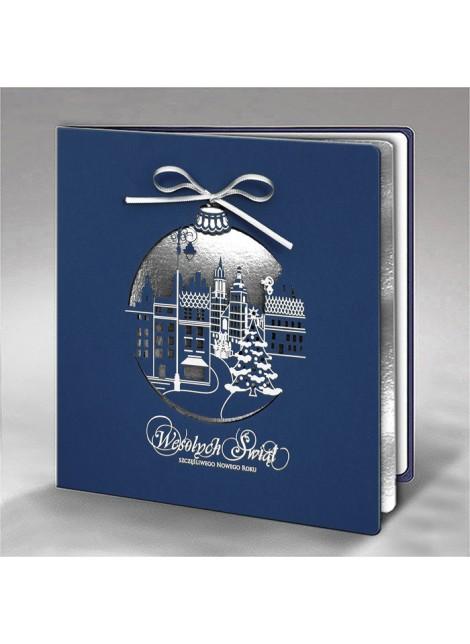 Kartka Świąteczna Bombka z Miasteczkiem w Zimowej Scenerii FS726gg