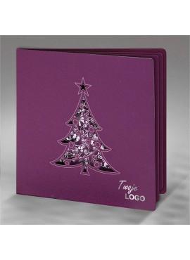 Kartka Świąteczna z Motywem Choinki Wyciętej Laserowo FS624kf