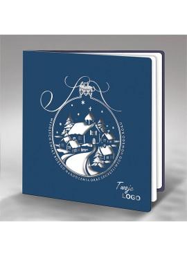 Kartka Świąteczna Srebrzona Bombka z Zimowym Pejzażem FS727ng