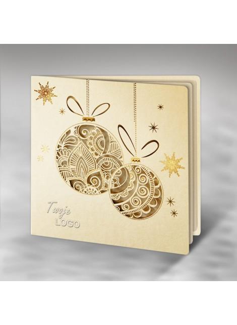 Kartka Świąteczna z Fantazyjnie Wyciętymi Dwiema Bombkami FS240tz