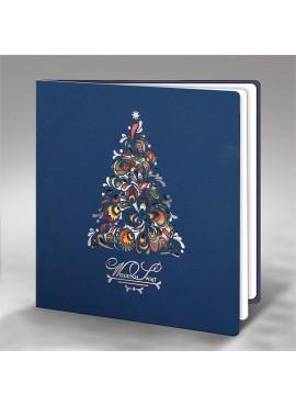 Kartka Świąteczna ze Wzorem Kolorowej Choinki FS594ng