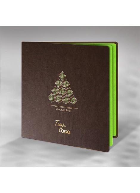 Kartka Świąteczna z Ornamentem Geometrycznej Choinki FS518