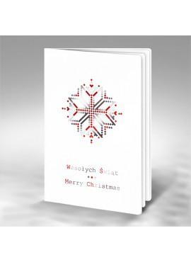 Kartka Świąteczna z Nowoczesnym Motywem Śnieżynki FS522