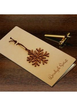 Kartka Świąteczna z Drewnianą Śnieżynką FS451