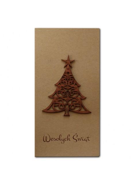 Kartka Świąteczna z Drewnianą Choinką FS449