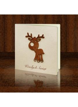 Kartka Świąteczna z Reniferem Wyciętym z Drewna FS444