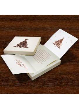 Kartka Świąteczna w Formie Pudełka z Drewnianą Choinka FS498