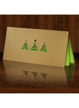 Kartka Świąteczna z Fantazyjnie Wyciętymi Trzema Choinkami FS464