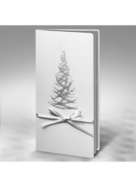 Kartka Świąteczna z Wysrebrzoną Oryginalną Choinką FS436tb