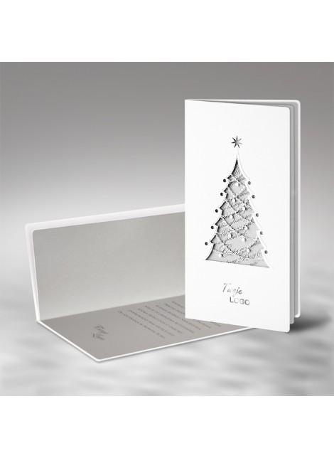 Kartka Świąteczna z Wyciętą Laserowo Oryginalną Choinką FS480tb