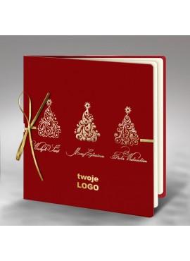 Kartka Świąteczna ze Złoconymi Wzorami oraz Złotą Kokardą FS410bg