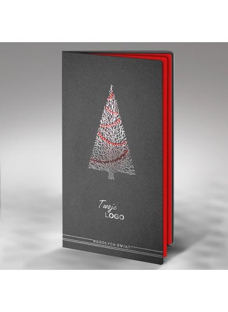 Kartka Świąteczna z Oryginalną Ozdobioną Choinką FS441s