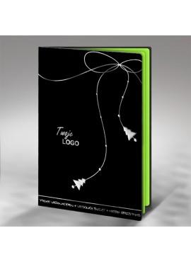 Kartka Świąteczna Srebrny Sznurek z Choinkami na Końcach FS430ag