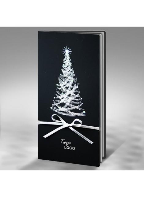 Kartka Świąteczna z Wysrebrzoną Oryginalną Choinką FS436ag