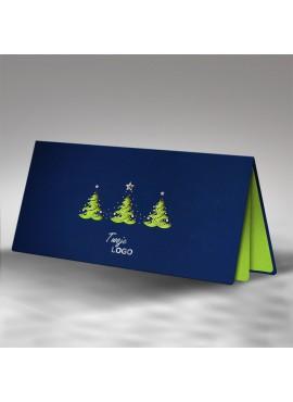 Kartka Świąteczna z Trzema Fantazyjnie Wyciętymi Choinkami FS464ng