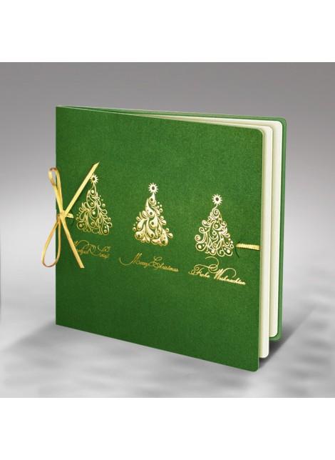Kartka Świąteczna ze Złoconymi Wzorami oraz Złotą Kokardą FS410z