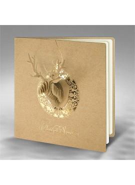 Kartka Świąteczna Bombka z Porożem Renifera FS840