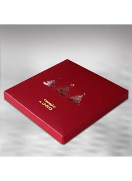 Kartka Świąteczna w Formie Pudełka z Trzema Choinkami FS392bg