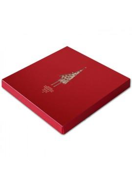 Kartka Świąteczna w Formie Pudełka z Wyciętymi Laserowo Choinkami FS395bg