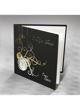 Kartka Świąteczna ze Srebrnymi i Złotymi Bombkami FS308ag