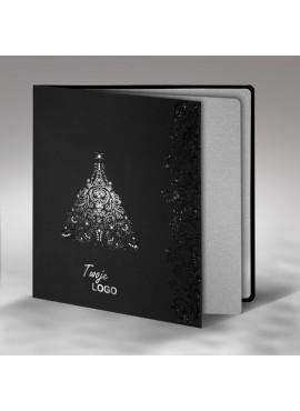 Kartka Świąteczna ze Wzorem Srebrnej Choinki FS363ag