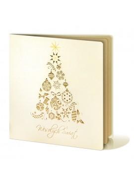 Kartka Świąteczna z Oryginalną Wyciętą Laserowo Choinką FS232tz