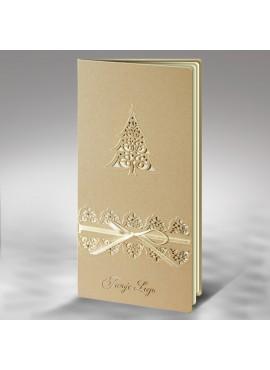 Kartka Świąteczna z Choinką oraz Wstążką w Kolorze Ecru FS377p