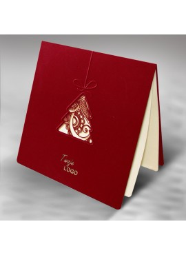 Kartka Świąteczna z Motywem Bombki w Kształcie Choinki FS241bg