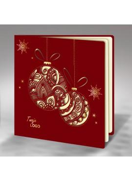 Kartka Świąteczna z Motywem Dwóch Bombek Wyciętych Laserowo FS240bg