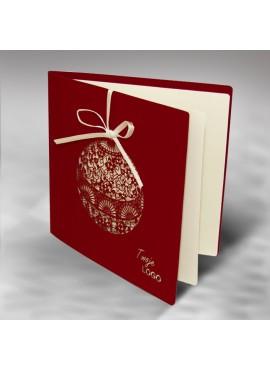 Kartka Świąteczna z Fantazyjnie Wyciętą Bombką FS315bg