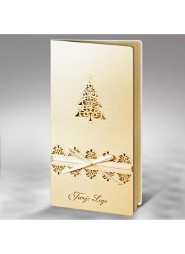 Kartka Świąteczna z Motywem Choinki oraz Wstążką w Kolorze Ecru FS377tz