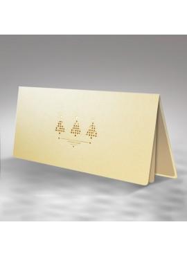 Kartka Świąteczna z Trzema Małymi Choinkami Wyciętymi Laserowo FS406tz