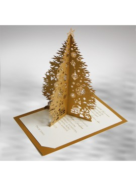 Kartka Świąteczna Złota Choinka 3D FS633az