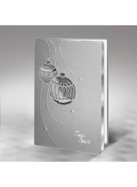 Kartka Świąteczna z Motywem Bombek Tłoczonych i Wyciętych Laserowo FS364s