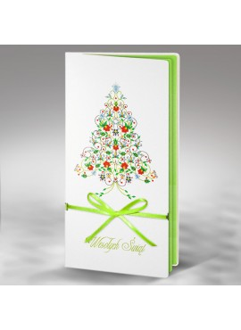 Kartka Świąteczna z Kolorową Choinką oraz Zieloną Wstążką FS326tb