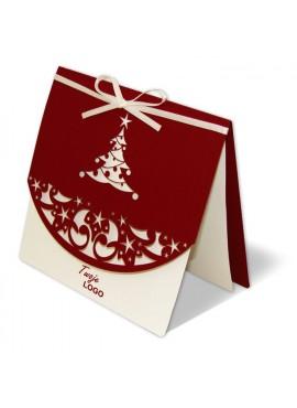 Kartka Świąteczna z Wyciętą Choinką oraz Wstążką w Kolorze Ecru FS317bg